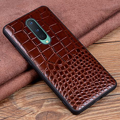 Soft Luxury Leather Snap On Case Cover R04 for OnePlus 8 Brown