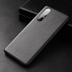 Soft Luxury Leather Snap On Case Cover R04 for Oppo Find X2 Neo Black