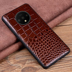 Soft Luxury Leather Snap On Case Cover R05 for OnePlus 7T Brown