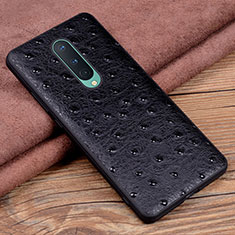 Soft Luxury Leather Snap On Case Cover R05 for OnePlus 8 Black