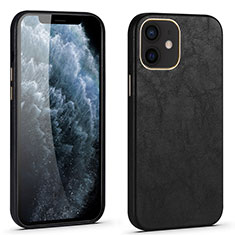 Soft Luxury Leather Snap On Case Cover R06 for Apple iPhone 12 Mini Black