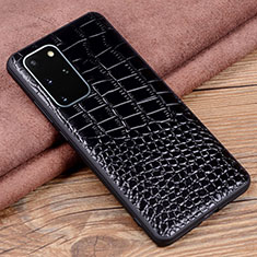 Soft Luxury Leather Snap On Case Cover R06 for Samsung Galaxy S20 Plus 5G Black