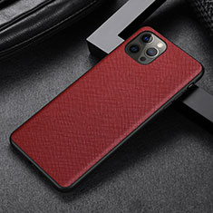 Soft Luxury Leather Snap On Case Cover R07 for Apple iPhone 12 Pro Red
