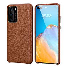 Soft Luxury Leather Snap On Case Cover R09 for Huawei P40 Brown