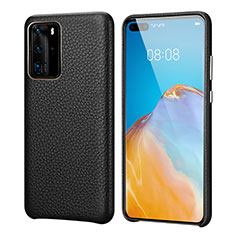 Soft Luxury Leather Snap On Case Cover R09 for Huawei P40 Pro Black