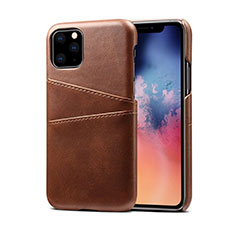 Soft Luxury Leather Snap On Case Cover R10 for Apple iPhone 11 Pro Max Brown