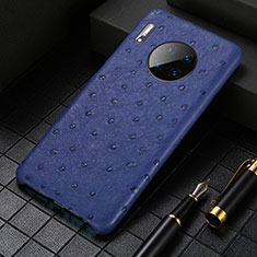 Soft Luxury Leather Snap On Case Cover S01 for Huawei Mate 30 Pro 5G Blue