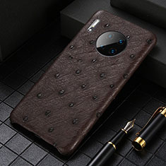 Soft Luxury Leather Snap On Case Cover S01 for Huawei Mate 30E Pro 5G Brown