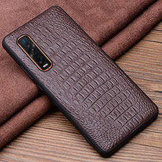 Soft Luxury Leather Snap On Case Cover S01 for Oppo Find X2 Pro Brown