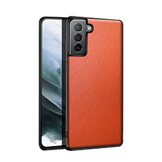 Soft Luxury Leather Snap On Case Cover S01 for Samsung Galaxy S21 Plus 5G Orange