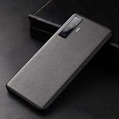 Soft Luxury Leather Snap On Case Cover S01 for Vivo X50 5G Black