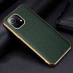 Soft Luxury Leather Snap On Case Cover S01 for Xiaomi Mi 11 5G Green