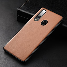Soft Luxury Leather Snap On Case Cover S02 for Huawei Enjoy 10 Plus Brown