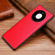 Soft Luxury Leather Snap On Case Cover S02 for Huawei Mate 40 Red