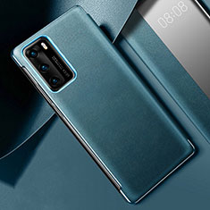 Soft Luxury Leather Snap On Case Cover S02 for Huawei P40 Cyan