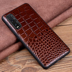 Soft Luxury Leather Snap On Case Cover S02 for Oppo Find X2 Brown