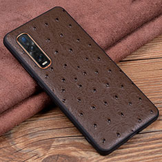 Soft Luxury Leather Snap On Case Cover S02 for Oppo Find X2 Pro Brown