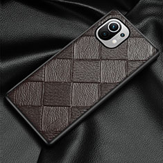 Soft Luxury Leather Snap On Case Cover S02 for Xiaomi Mi 11 5G Brown