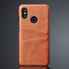 Soft Luxury Leather Snap On Case Cover S02 for Xiaomi Mi 8 Brown