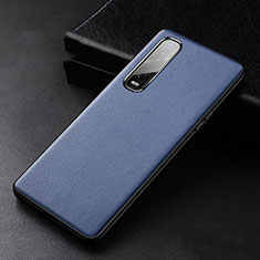Soft Luxury Leather Snap On Case Cover S04 for Oppo Find X2 Pro Blue