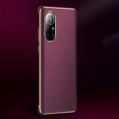 Soft Luxury Leather Snap On Case Cover S05 for Huawei Nova 8 Pro 5G Purple