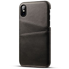 Soft Luxury Leather Snap On Case Cover S06 for Apple iPhone X Black