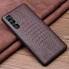 Soft Luxury Leather Snap On Case Cover S06 for Oppo Find X2 Neo Brown