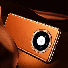 Soft Luxury Leather Snap On Case Cover S08 for Huawei Mate 40 Pro+ Plus Orange