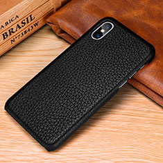 Soft Luxury Leather Snap On Case Cover S10 for Apple iPhone Xs Black