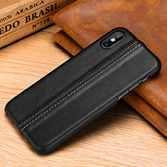 Soft Luxury Leather Snap On Case Cover S11 for Apple iPhone X Black
