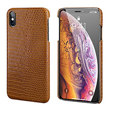 Soft Luxury Leather Snap On Case Cover S12 for Apple iPhone Xs Brown