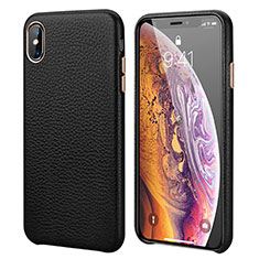 Soft Luxury Leather Snap On Case Cover S14 for Apple iPhone X Black