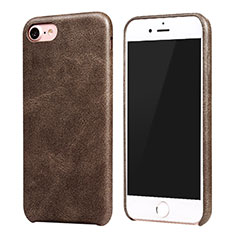 Soft Luxury Leather Snap On Case for Apple iPhone SE (2020) Brown