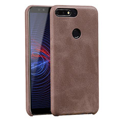 Soft Luxury Leather Snap On Case for Huawei Enjoy 8 Brown