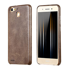 Soft Luxury Leather Snap On Case for Huawei G8 Mini Brown