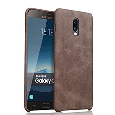 Soft Luxury Leather Snap On Case for Samsung Galaxy J7 Plus Brown