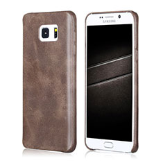 Soft Luxury Leather Snap On Case for Samsung Galaxy Note 5 N9200 N920 N920F Brown