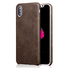 Soft Luxury Leather Snap On Case L01 for Apple iPhone Xs Max Brown