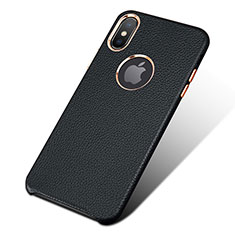 Soft Luxury Leather Snap On Case L04 for Apple iPhone Xs Max Black