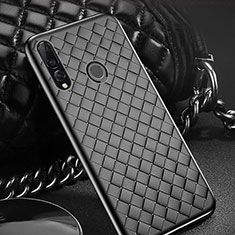 Soft Silicone Gel Leather Snap On Case Cover A01 for Huawei Enjoy 9s Black