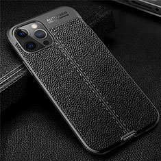 Soft Silicone Gel Leather Snap On Case Cover for Apple iPhone 12 Pro Black