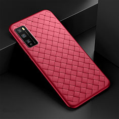 Soft Silicone Gel Leather Snap On Case Cover for Huawei Enjoy 20 Pro 5G Red