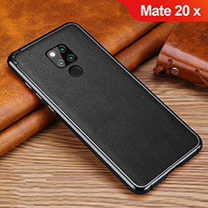 Soft Silicone Gel Leather Snap On Case Cover for Huawei Mate 20 X Black