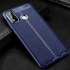 Soft Silicone Gel Leather Snap On Case Cover for Huawei P Smart (2020) Blue