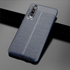 Soft Silicone Gel Leather Snap On Case Cover for Huawei P30 Blue