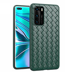 Soft Silicone Gel Leather Snap On Case Cover for Huawei P40 Green