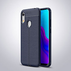 Soft Silicone Gel Leather Snap On Case Cover for Huawei Y6 Prime (2019) Blue