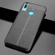 Soft Silicone Gel Leather Snap On Case Cover for Huawei Y7 Pro (2019) Black