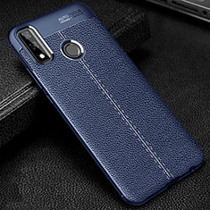 Soft Silicone Gel Leather Snap On Case Cover for Huawei Y8s Blue