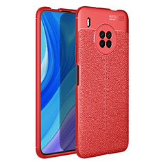 Soft Silicone Gel Leather Snap On Case Cover for Huawei Y9a Red
